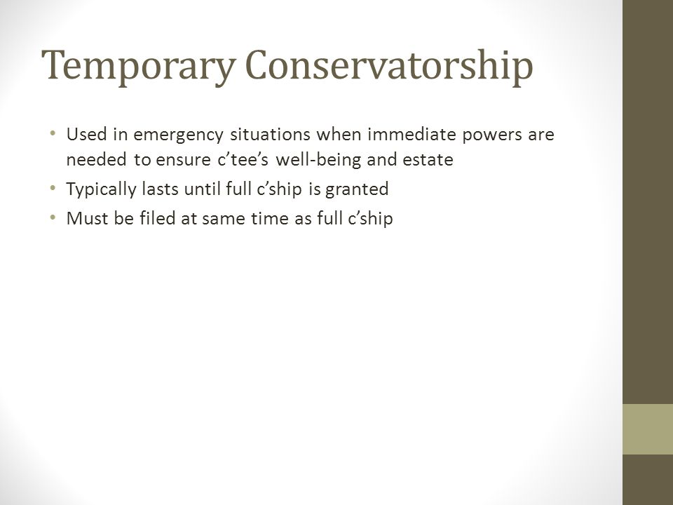 Temporary Conservatorship