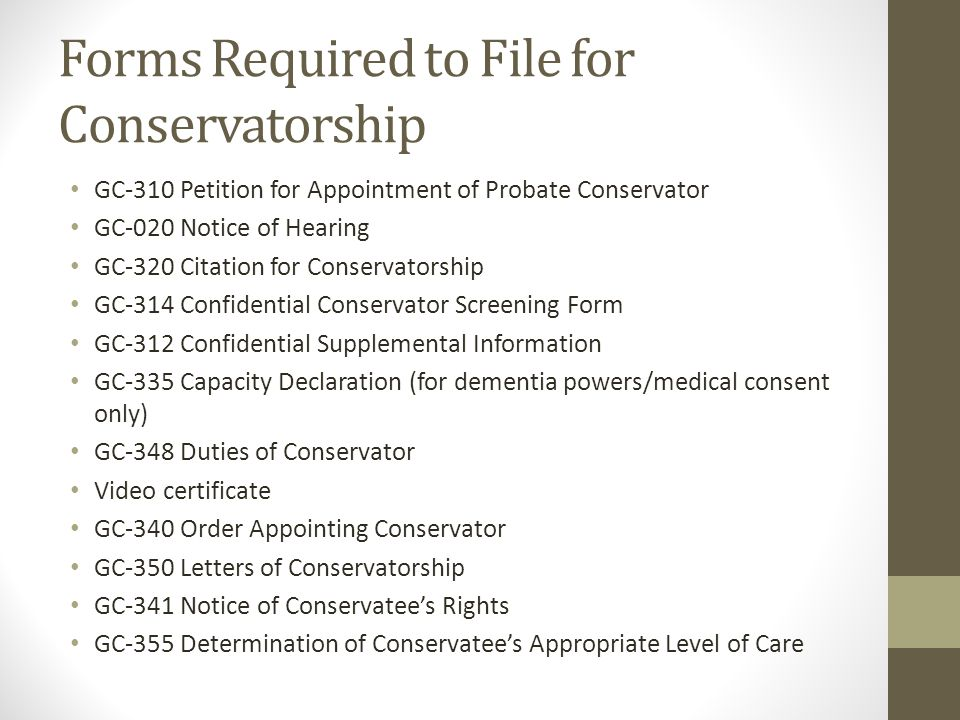 Forms Required to File for Conservatorship
