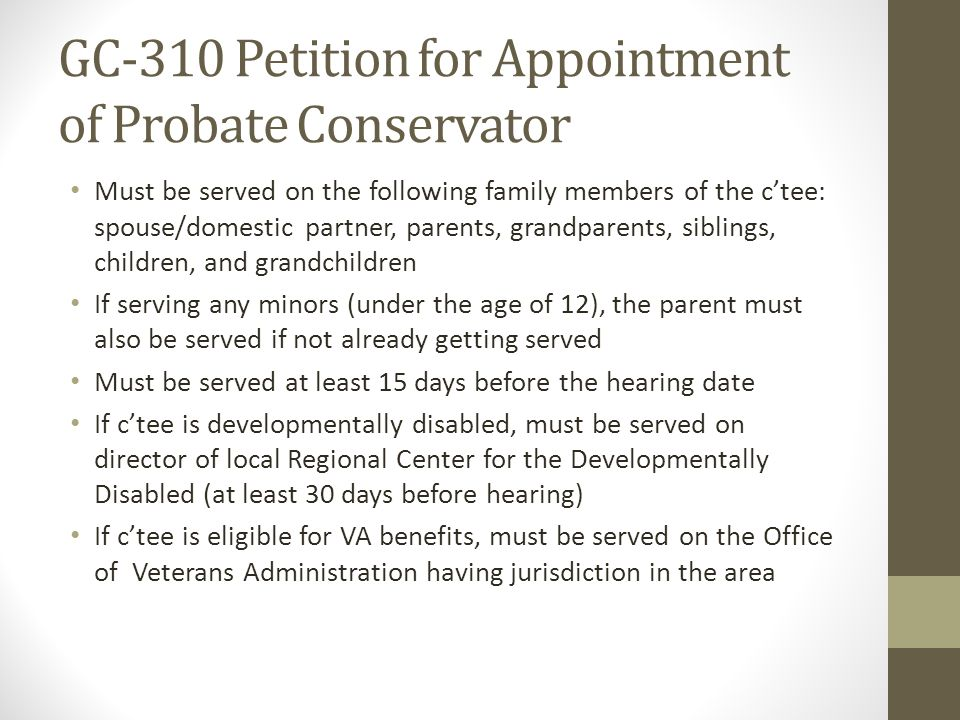 GC-310 Petition for Appointment of Probate Conservator