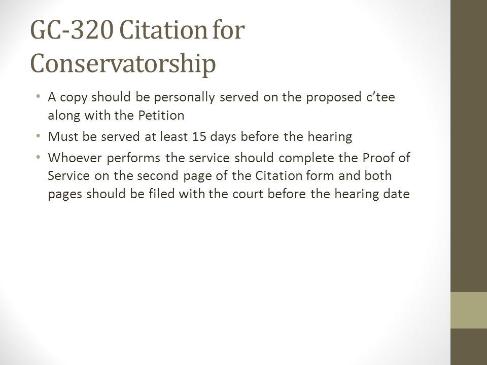 GC-320 Citation for Conservatorship