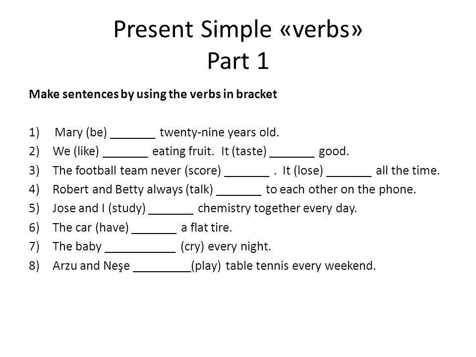 Present Simple «verbs» Part 1