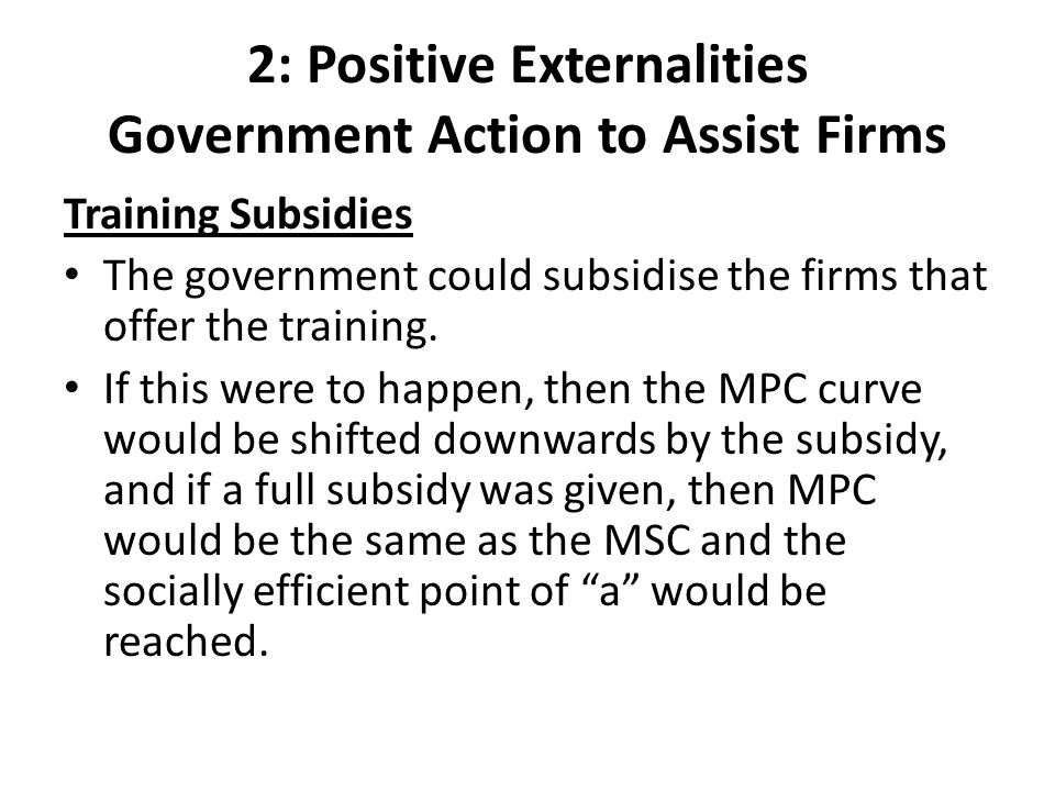 2: Positive Externalities Government Action to Assist Firms