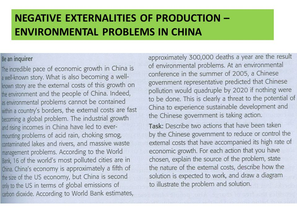 NEGATIVE EXTERNALITIES OF PRODUCTION – ENVIRONMENTAL PROBLEMS IN CHINA