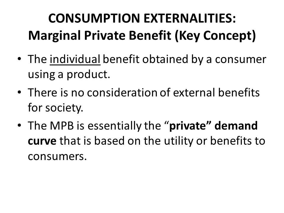CONSUMPTION EXTERNALITIES: Marginal Private Benefit (Key Concept)