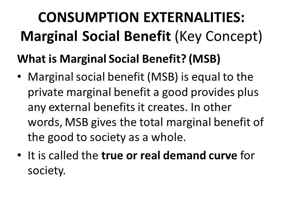 CONSUMPTION EXTERNALITIES: Marginal Social Benefit (Key Concept)