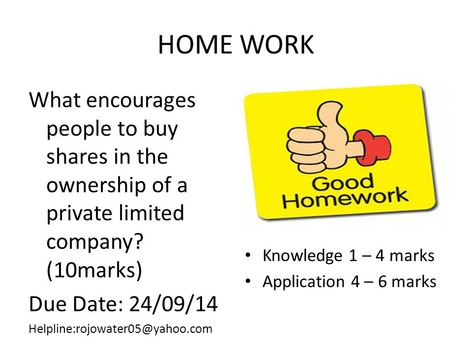 HOME WORK What encourages people to buy shares in the ownership of a private limited company (10marks)