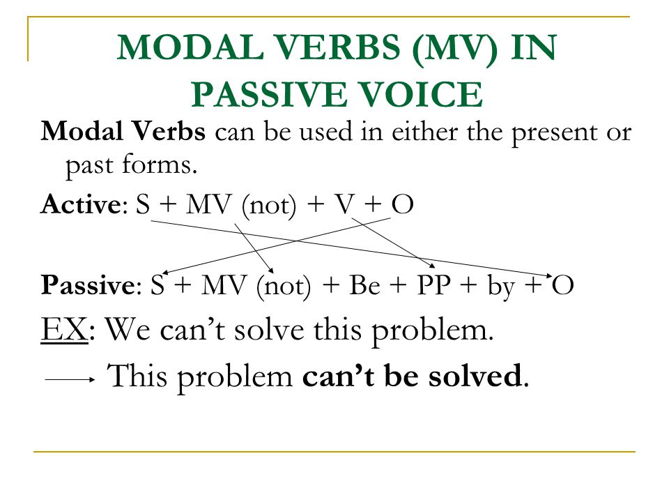 MODAL VERBS (MV) IN PASSIVE VOICE