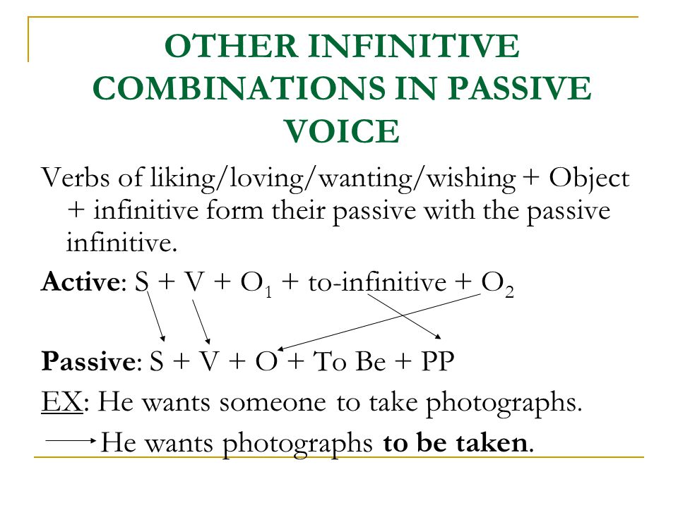OTHER INFINITIVE COMBINATIONS IN PASSIVE VOICE