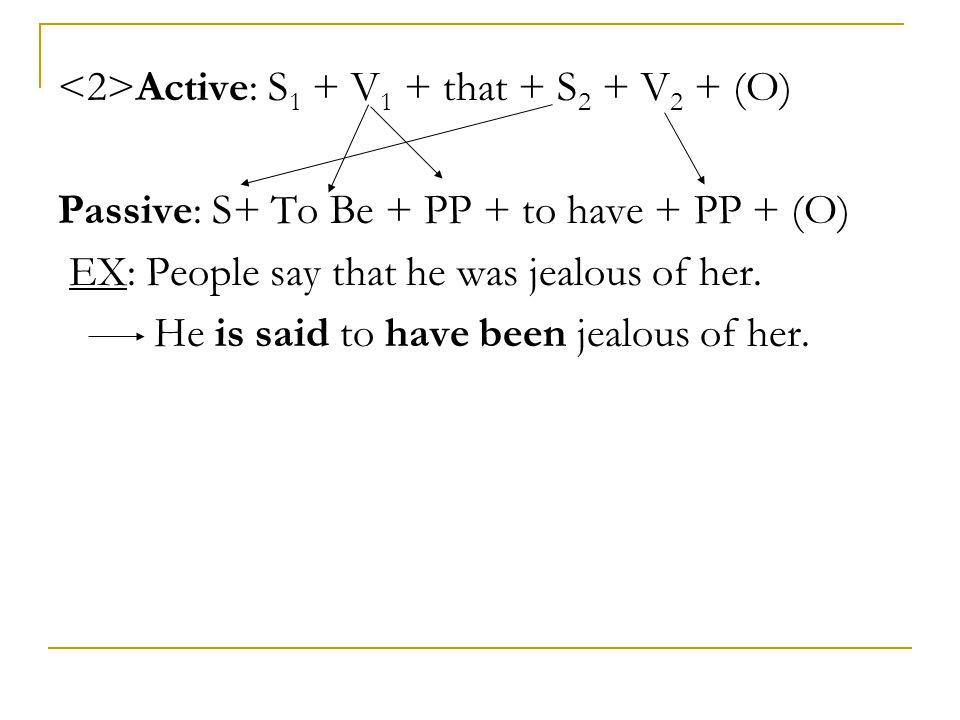 <2>Active: S1 + V1 + that + S2 + V2 + (O)