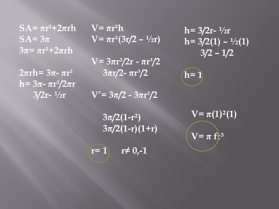 SA= πr²+2πrh SA= 3π. 3π= πr²+2πrh. 2πrh= 3π- πr². h= 3π- πr²/2πr. 3/2r- ½r. V= πr²h. V= πr²(3r/2 – ½r)