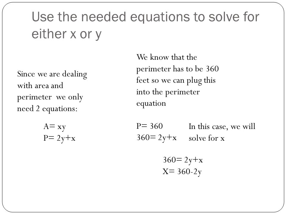 Use the needed equations to solve for either x or y