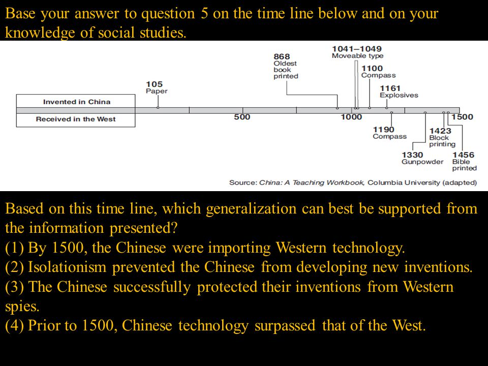 (1) By 1500, the Chinese were importing Western technology.