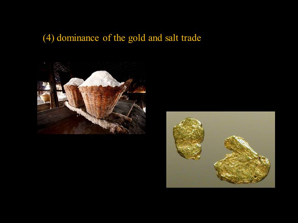 (4) dominance of the gold and salt trade