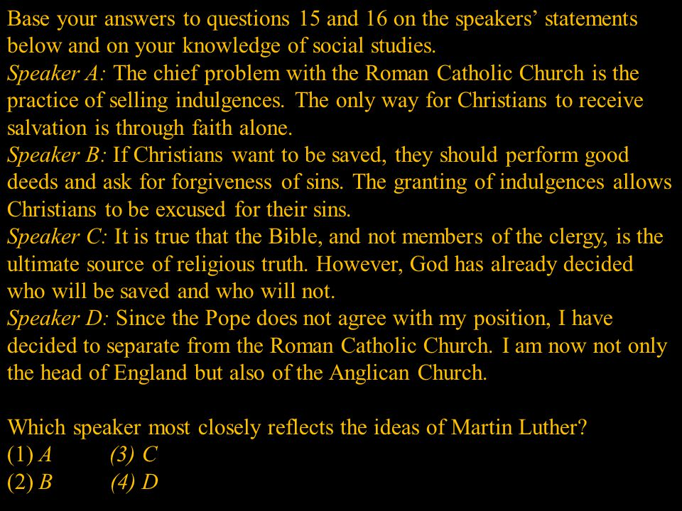 Which speaker most closely reflects the ideas of Martin Luther