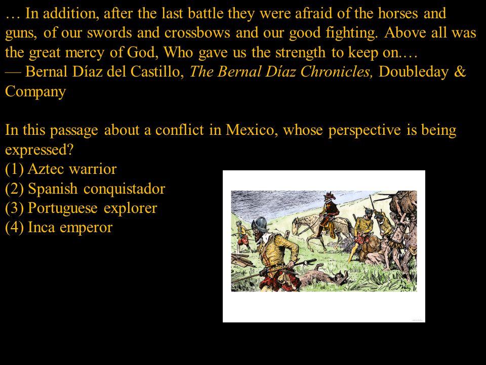 (2) Spanish conquistador (3) Portuguese explorer (4) Inca emperor
