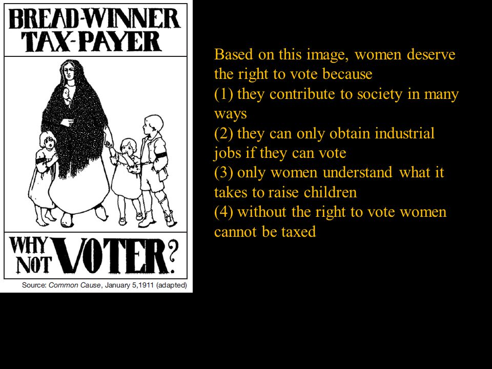Based on this image, women deserve the right to vote because