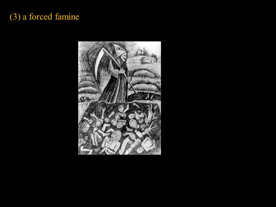 (3) a forced famine Slide concept by William V. Ganis, PhD