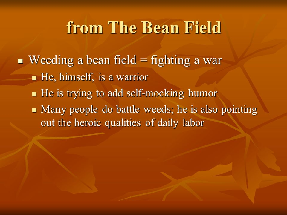 from The Bean Field Weeding a bean field = fighting a war