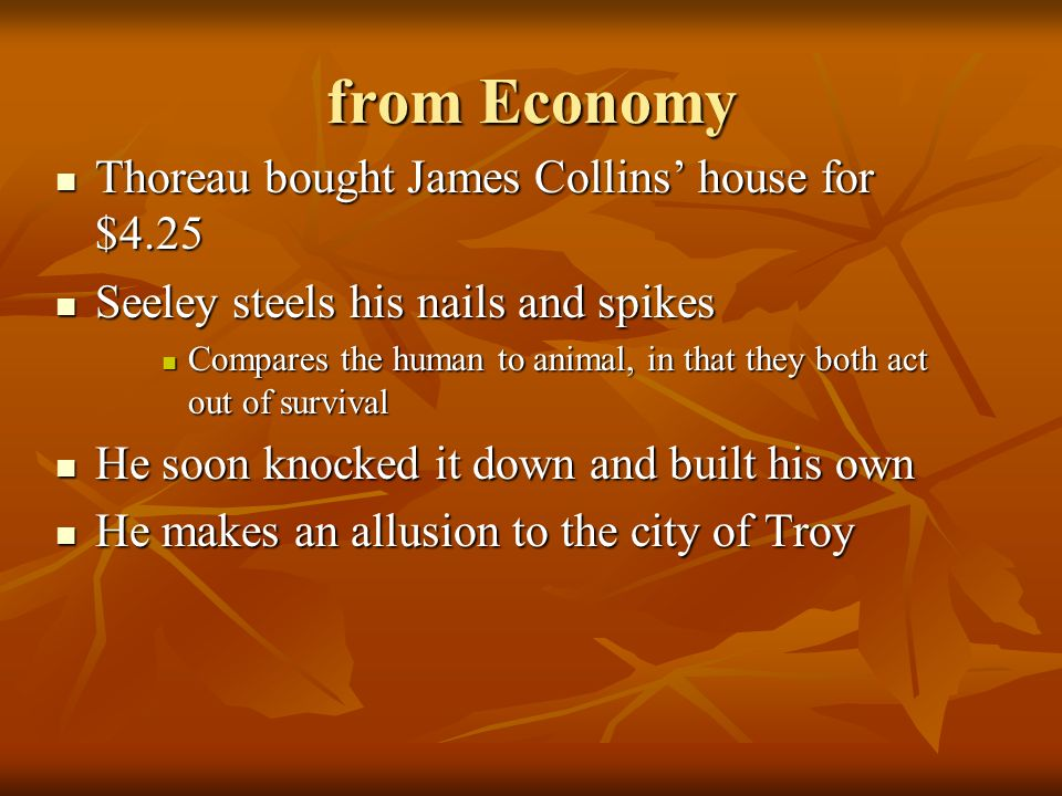 from Economy Thoreau bought James Collins' house for $4.25