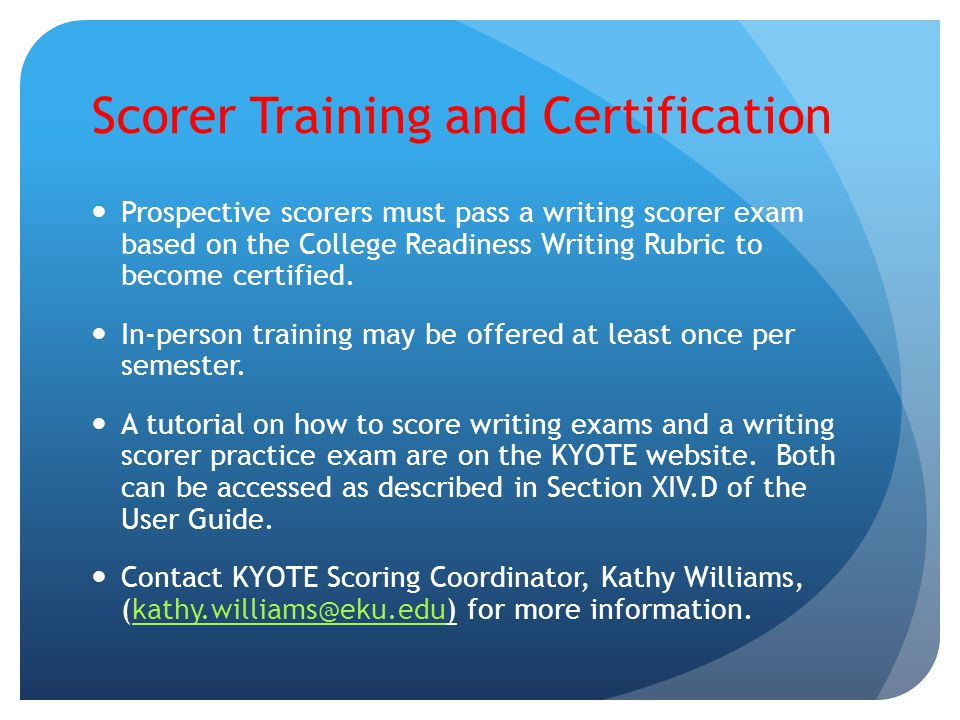 Scorer Training and Certification