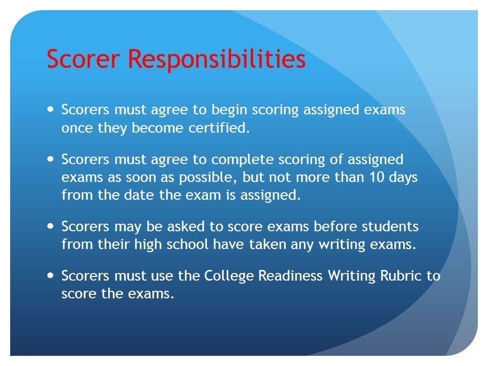 Scorer Responsibilities