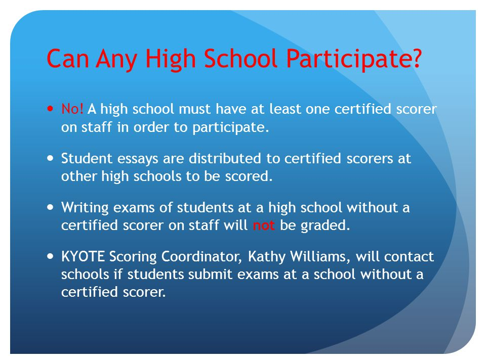 Can Any High School Participate