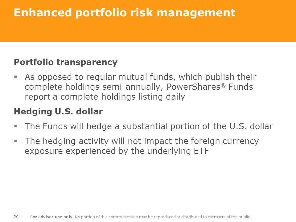 Enhanced portfolio risk management