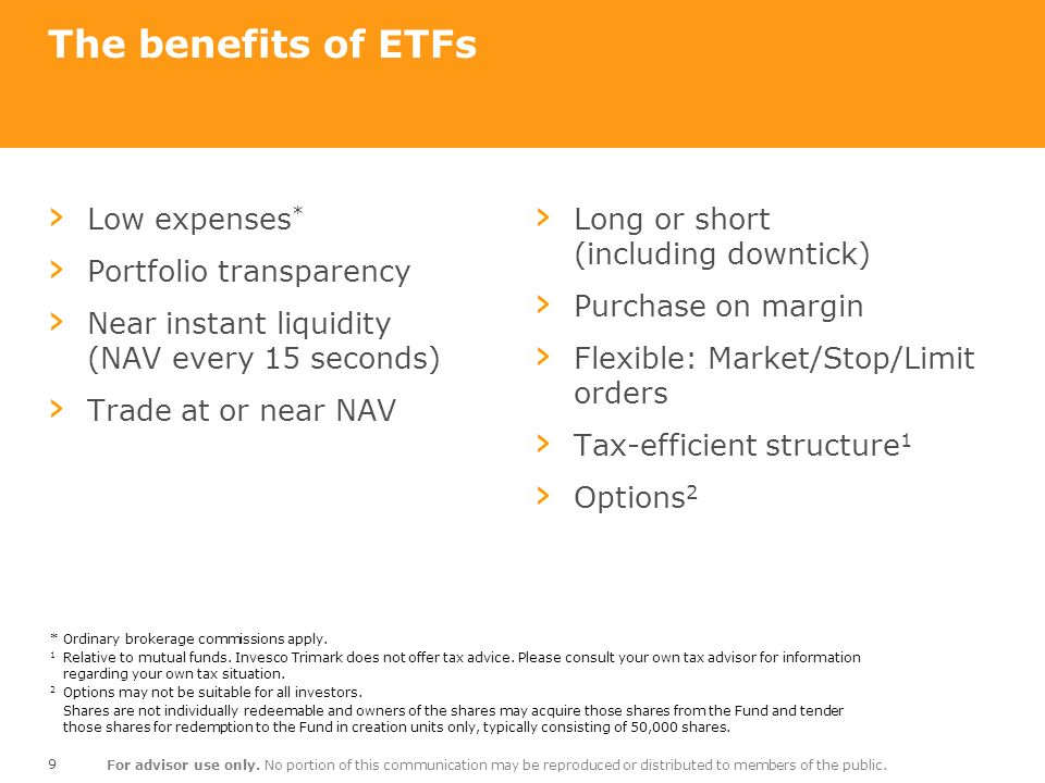 The benefits of ETFs Low expenses* Portfolio transparency