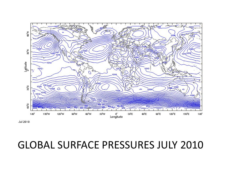 GLOBAL SURFACE PRESSURES JULY 2010