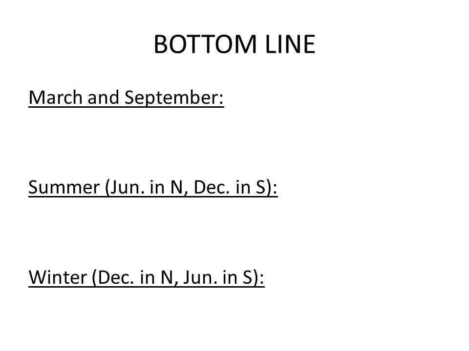 BOTTOM LINE March and September: Summer (Jun. in N, Dec. in S): Winter (Dec. in N, Jun. in S):