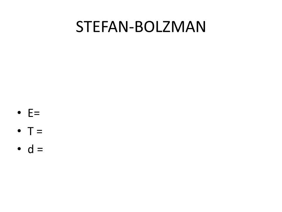 STEFAN-BOLZMAN E= T = d =