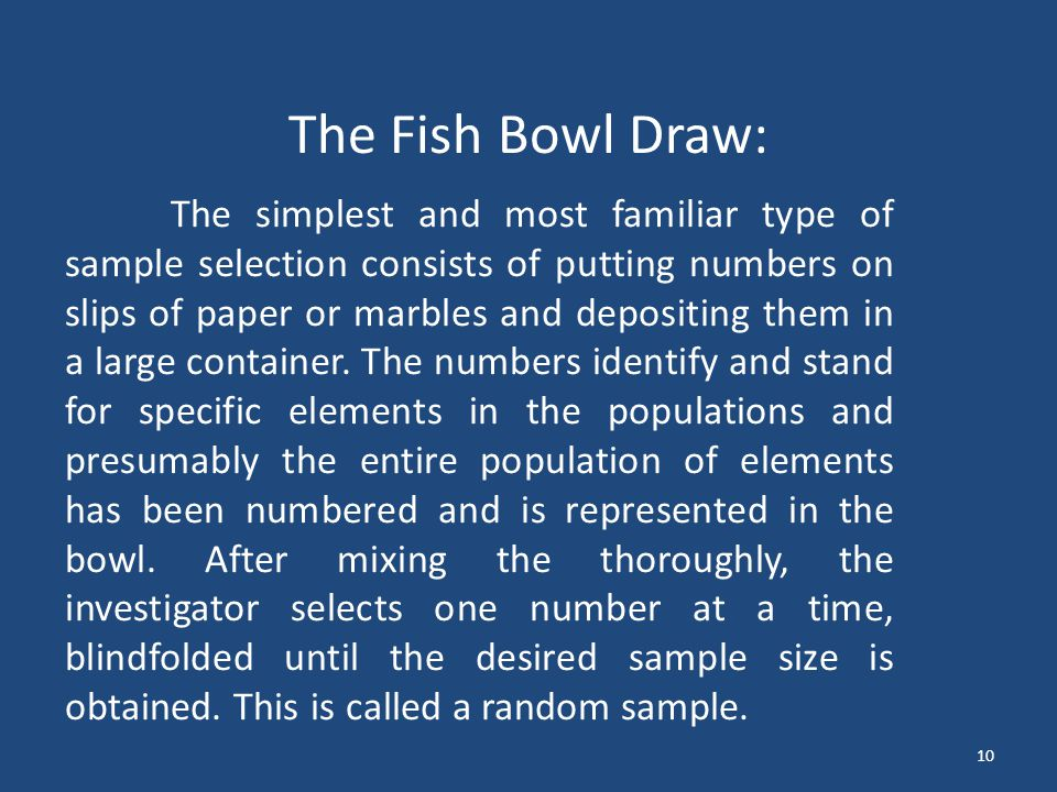 The Fish Bowl Draw: