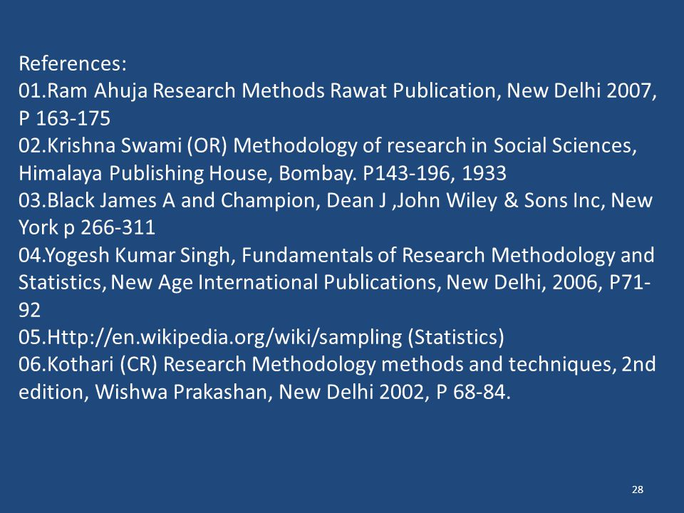 References: 01.Ram Ahuja Research Methods Rawat Publication, New Delhi 2007, P 163-175.