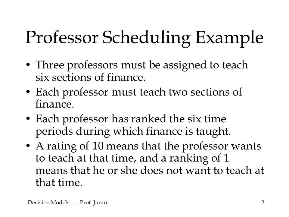 Professor Scheduling Example