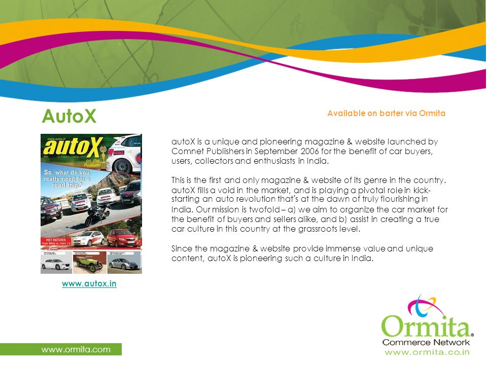 AutoX www.ormita.com Available on barter via Ormita