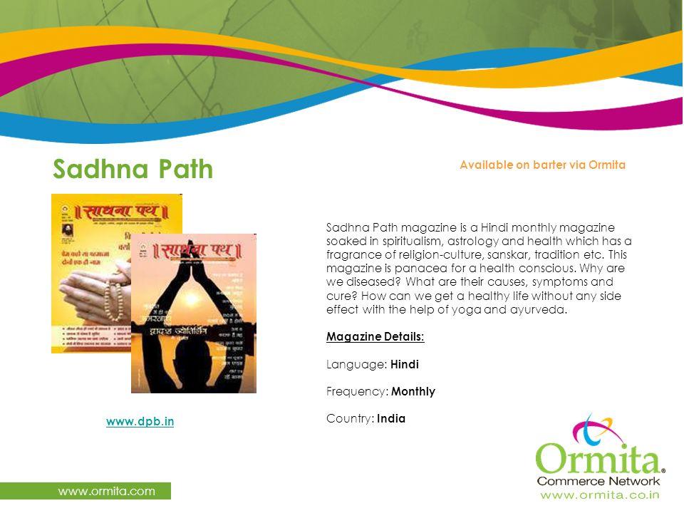 Sadhna Path www.ormita.com Available on barter via Ormita