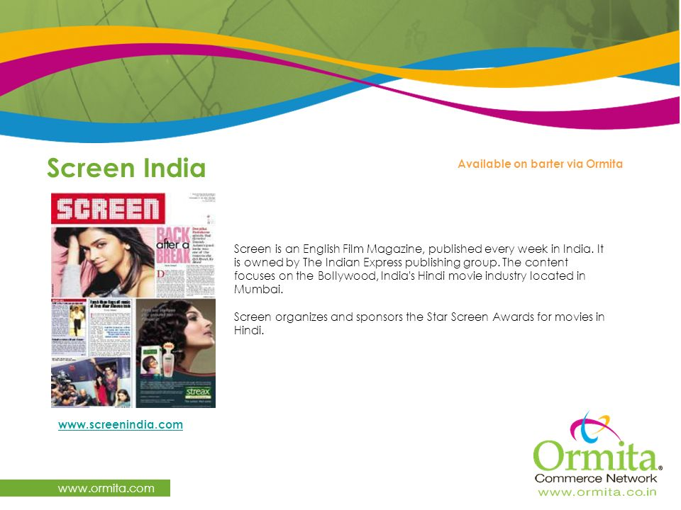Screen India   Available on barter via Ormita