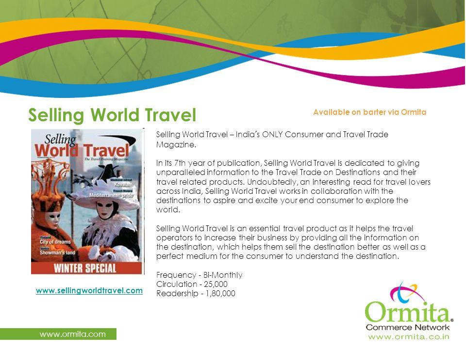 Selling World Travel www.ormita.com Available on barter via Ormita