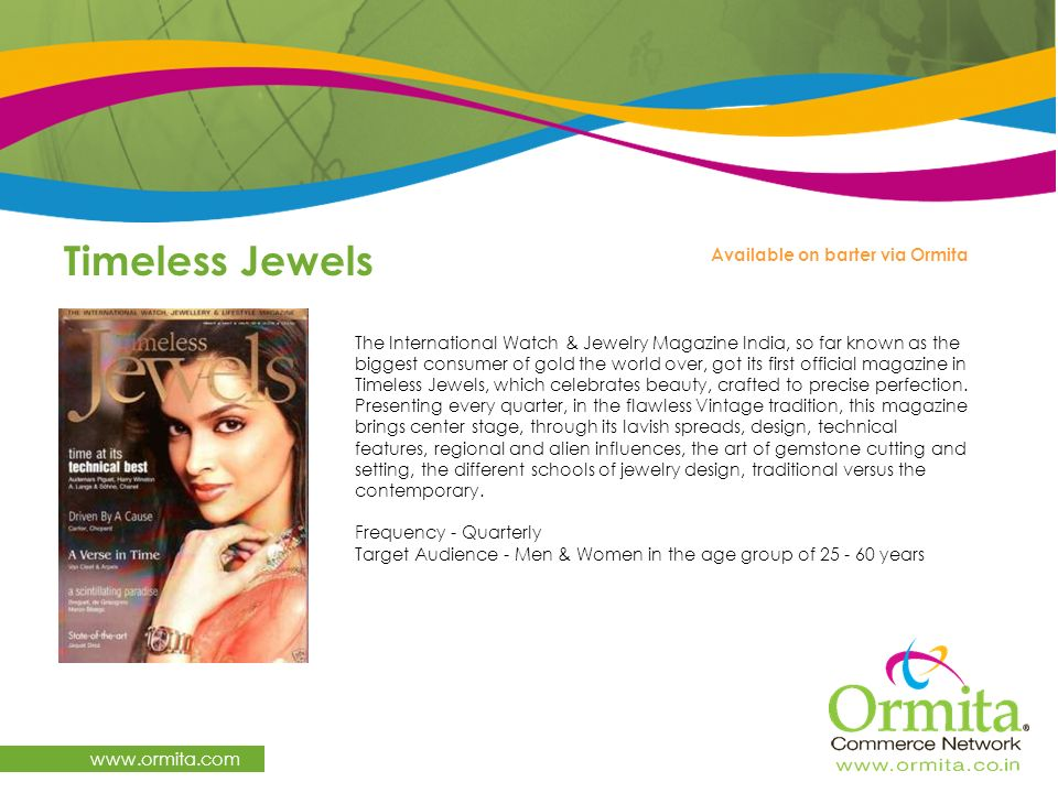 Timeless Jewels www.ormita.com Available on barter via Ormita