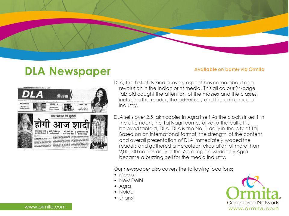 DLA Newspaper   Available on barter via Ormita