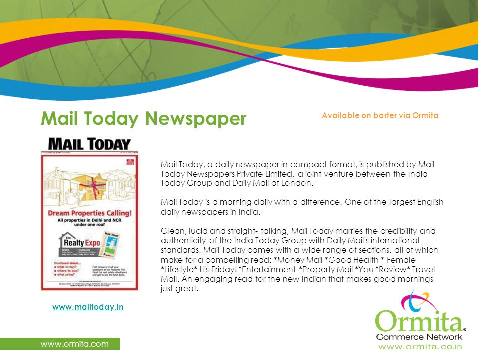 Mail Today Newspaper   Available on barter via Ormita