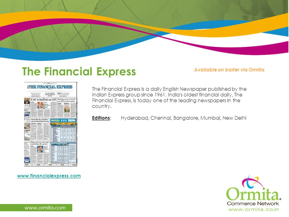 The Financial Express   Available on barter via Ormita
