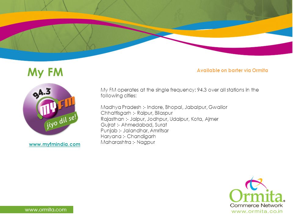 My FM www.ormita.com Available on barter via Ormita
