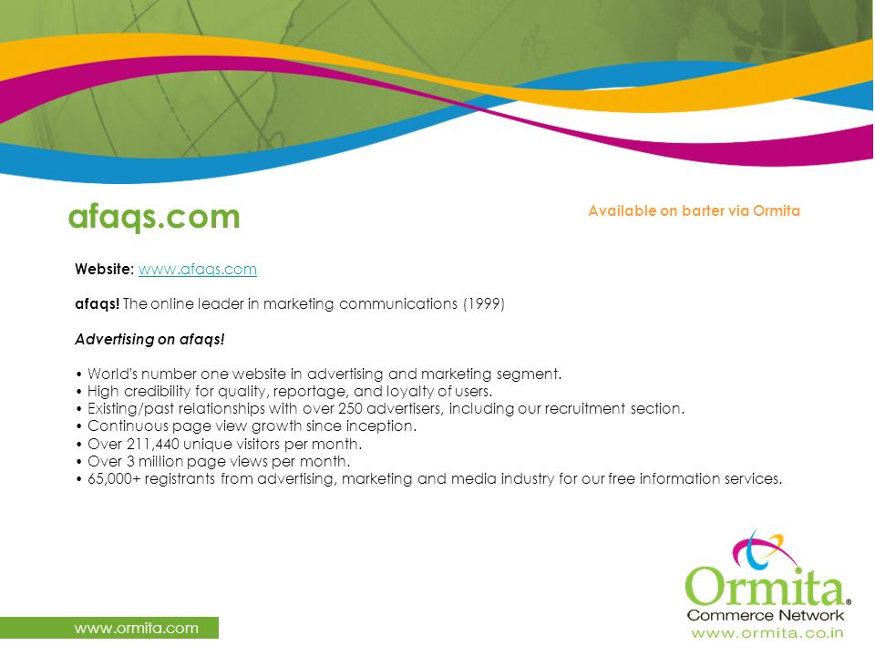 afaqs.com   Available on barter via Ormita