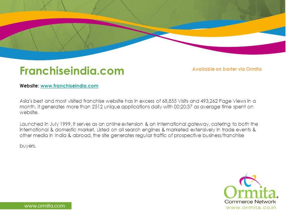 Franchiseindia.com   Available on barter via Ormita