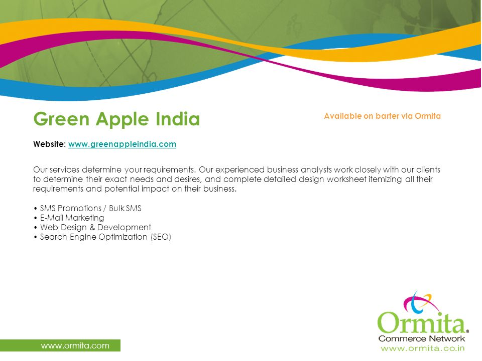 Green Apple India www.ormita.com Available on barter via Ormita
