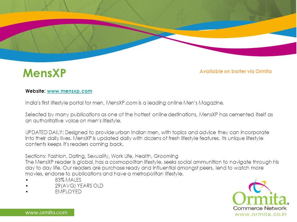 MensXP www.ormita.com Available on barter via Ormita