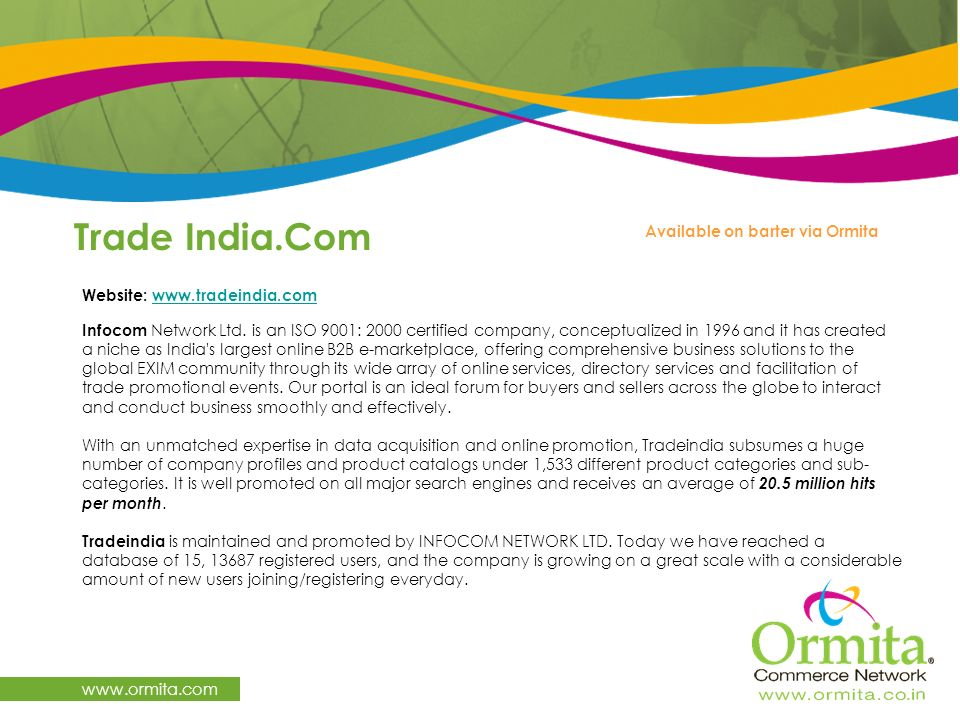 Trade India.Com   Available on barter via Ormita