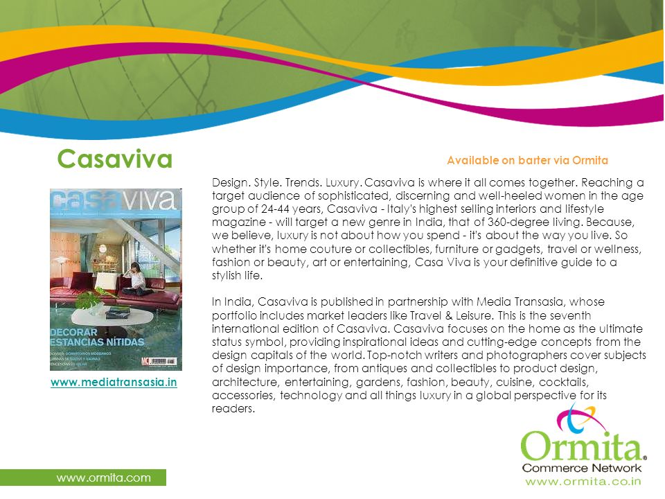 Casaviva   Available on barter via Ormita