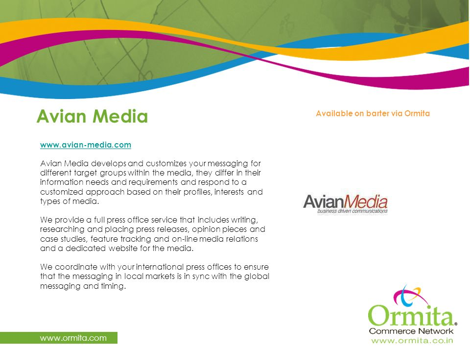 Avian Media www.ormita.com Available on barter via Ormita